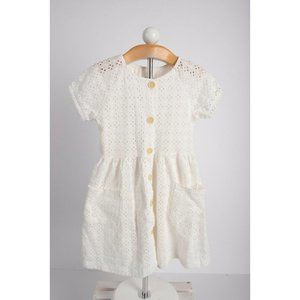 Zara Girls Eyelet Dress Sz 9 yrs 134 White Short S